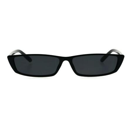 Narrow Rectangular Hippie Groove Plastic Cat Eye Sunglasses All Black (Cat Eye Wayfarer Sonnenbrille)
