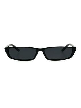 7e7c538548 Product Image Narrow Rectangular Hippie Groove Plastic Cat Eye Sunglasses  All Black