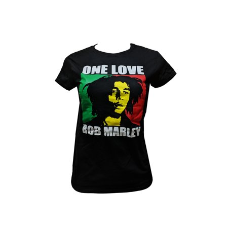 Bob Marley Tee Shirts - Women's Juniors Bob Marley One Love T-shirt (L) W12A
