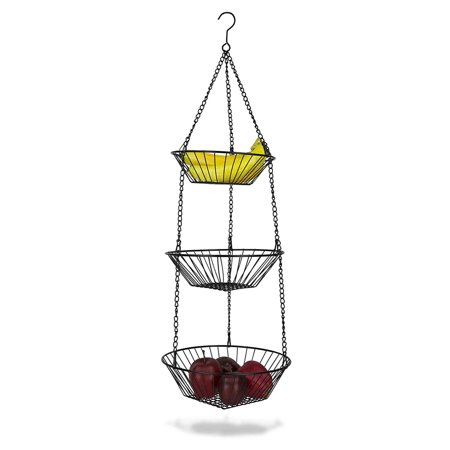 Hanging Wire Fruit Basket (3-Tier Wire Hanging Basket, Black, 3-Tiered hanging basket holds fruit or kitchen tools while saving space By Home Basics)