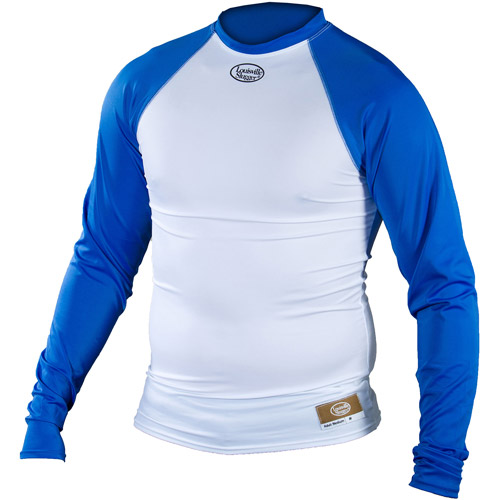 Louisville Slugger Adult Slugger Compression Fit Long Sleeve Shirt, White/Royal
