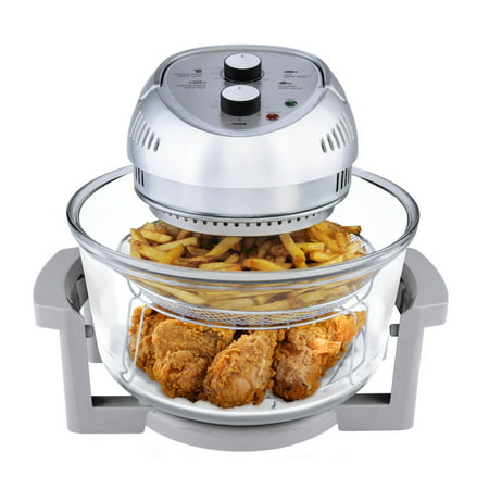 Big Boss 16 Quart 1300-Watt Oil-less Air Fryer & Tabletop Convection Oven, Easy Operation with Built In Timer, Includes 50 Recipe Cookbook, Silver, As Seen on TV