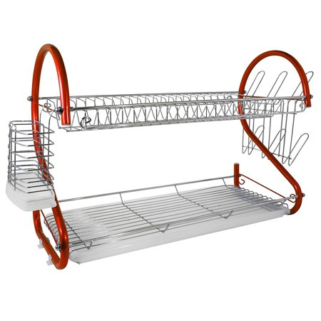 Better Chef 2-Tier 22 in. Chrome Plated Dish Rack in Red