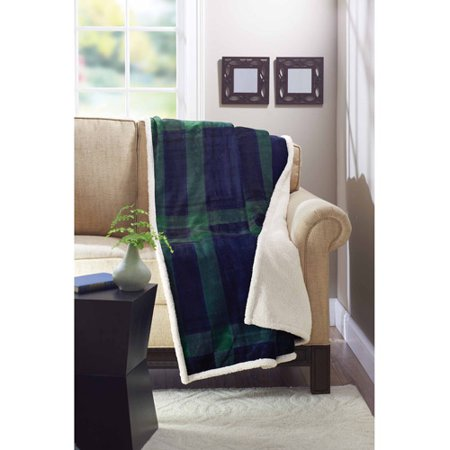 Better Homes And Gardens Royal Plush 50  X 60  Throw  Blue Green Plaid