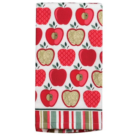Apple Kitchen Tea Towel - Set of 2 HAPPY APPLE Terry Cloth Kitchen Towels by Kay Dee