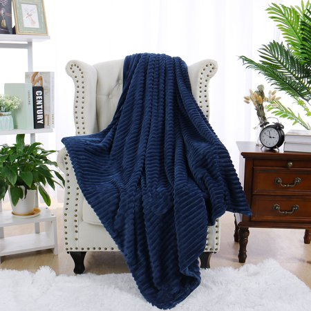 "PiccoCasa Flannel Fleece Duvet Cover Blanket Dark Blue Twin 59"" x 78"""
