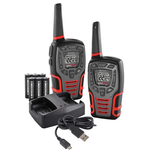 (2) COBRA MicroTalk 32 Mile 22 Channel Walkie Talkie 2-Way Radios w/Vox | CXT595 [Refurbished]
