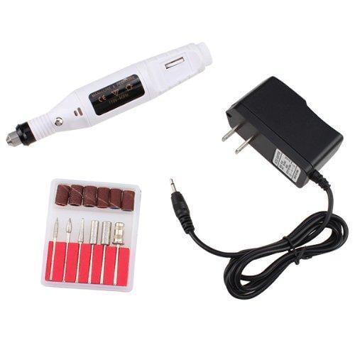 AGPtek White Electric Manicure pedicure machine Nail Art File Drill Pen 6 Bits