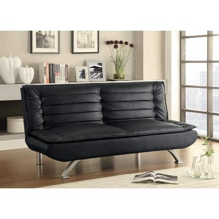 Leather Retro Style Sofa Bed Black