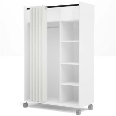 Atlin Designs 4 Cubby Mobile Curtain Storage Unit in White and (Sectional Mobile Cubby)