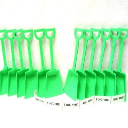 Small Toy Plastic Shovels Lime, 100 Pack, 7 Inches Tall, 100 I Dig You Stickers - I Dig You