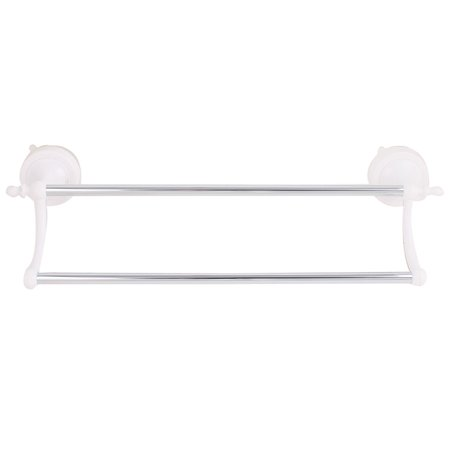 hotel bathroom suction cup double towel bar rack hanger silver tone. Black Bedroom Furniture Sets. Home Design Ideas
