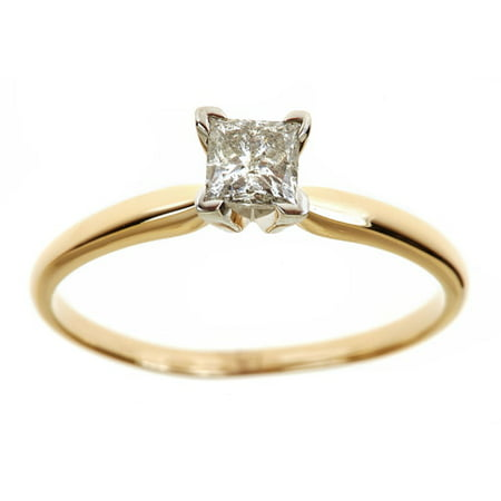 Certified Diamond Solitaire Ring - 1/2 Carat T.W. Genuine Princess White Diamond 14kt Yellow Gold Solitaire Ring, IGL Certified