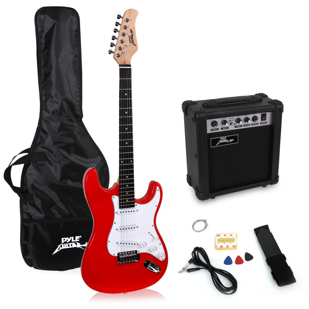 Pyle PEGKT15R - Beginners Electric Guitar Kit, Includes Amplifier & Accessories (Red)