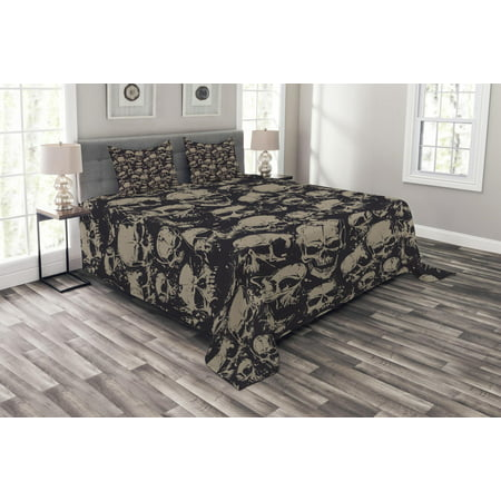 Skull Bedspread Set, Grunge Scary Skulls Sketchy Graveyard Death Evil Face Horror Theme Design, Decorative Quilted Coverlet Set with Pillow Shams Included, Charcoal Grey Tan, by Ambesonne ()
