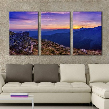 wall26 - 3 Panel Canvas Wall Art - Majestic Natural Landscape Triptych Canvas Series - Purple Mountain Sunset - Giclee Print Gallery Wrap Modern Home Decor Ready to Hang - 24