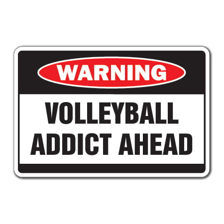 VOLLEYBALL ADDICT Warning Decal sport team sand beach coach volley ball