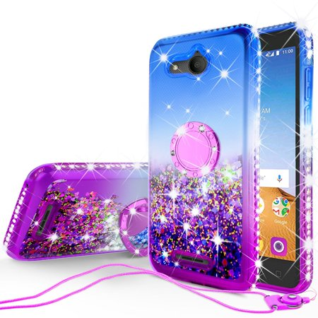 Alcatel Tetra Case, Liquid Glitter Cute Phone Case Kickstand Bling Diamond Bumper Ring Stand Clear for Girls Women - Purple - Cave Women