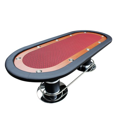 Poker Table for 10 Players Oval 96 x 43 Inch Racetrack Cup Holders Red Speed Cloth Stainless Pedestal Legs By IDS Poker