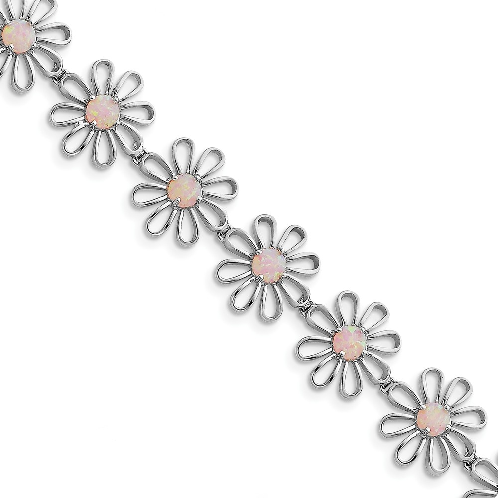Sterling Silver Pink Simulated Opal Flower Bracelet 7 Inch Box Clasp by Jewelryweb