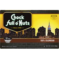 Chock full o'Nuts 100% Colombian K-Cup Coffee Pods, Medium Roast, 12 Count Box