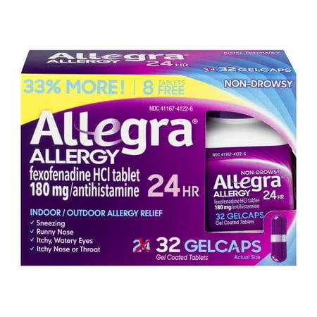 Allegra 24 Hour Allergy Relief Antihistamine Gelcaps Bonus, 32ct