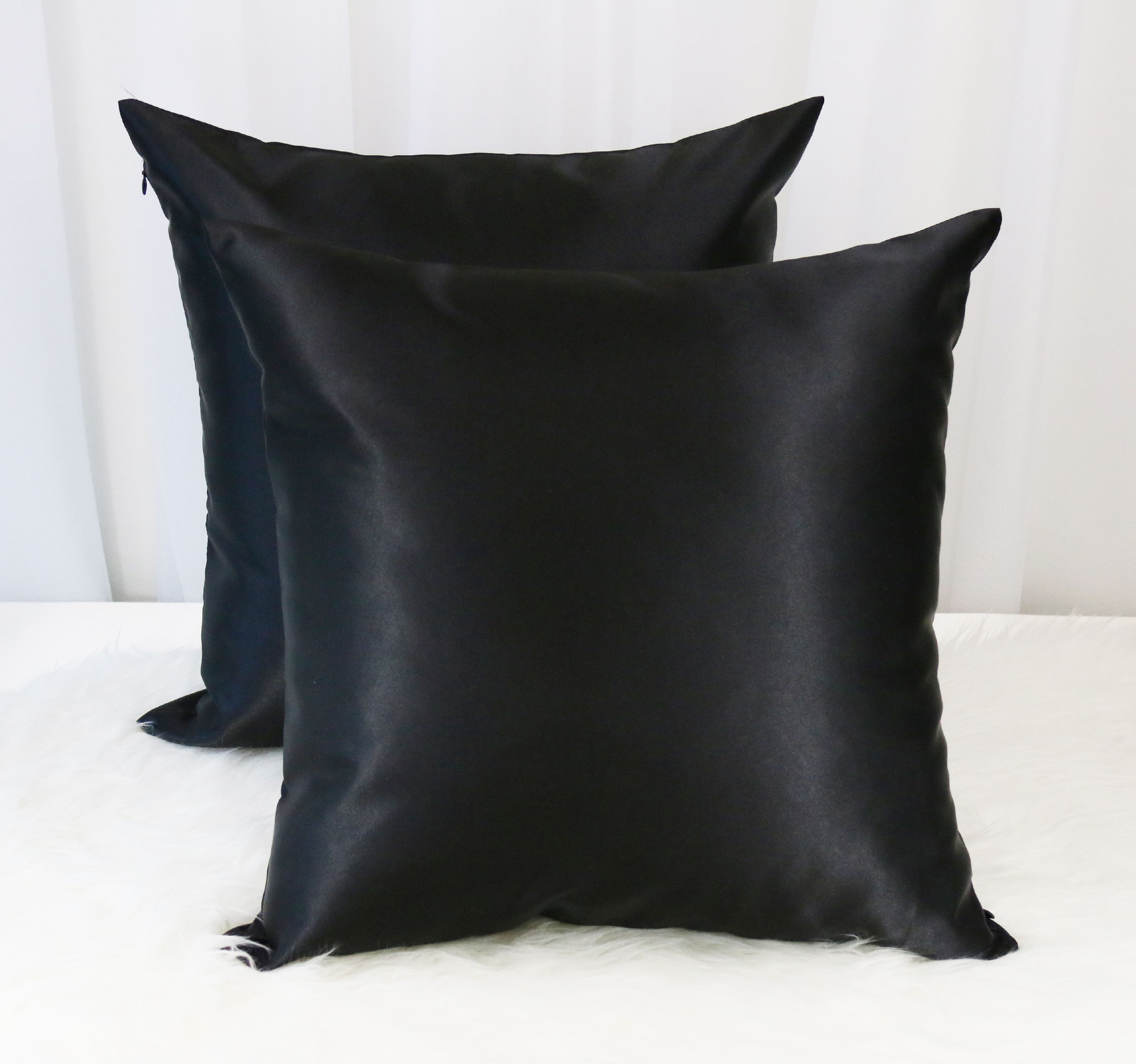 "Aiking Home 2 of 18""x18"" Colorful Shiny Poly Satin Throw Pillow Covers, Black"