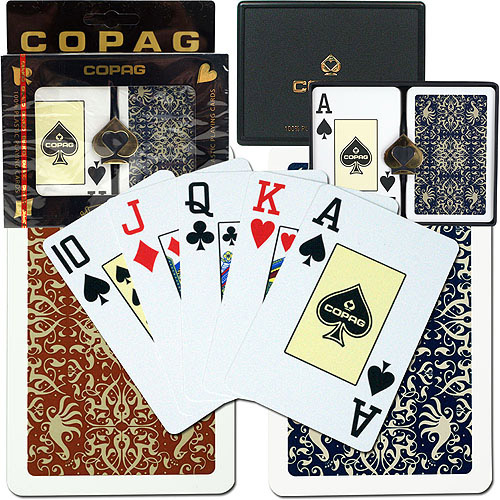 Trademark Poker Copag Bridge Size Jumbo Index, Gold Line Script Setup