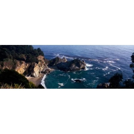 Rock formations on the beach McWay Falls Julia Pfeiffer Burns State Park Monterey County Big Sur California USA Canvas Art - Panoramic Images (18 x (Julia Pfeiffer Burns State Park Big Sur)