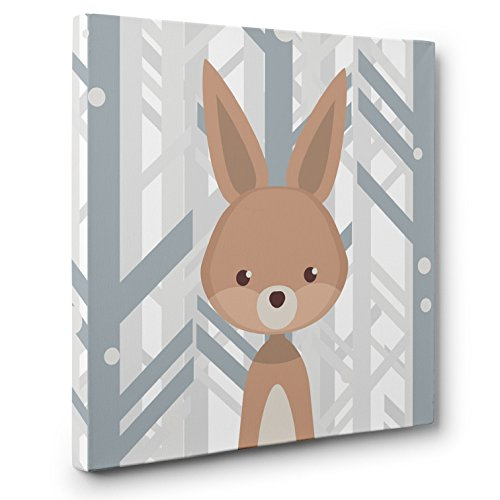 Woodland Creatures Rabbit Nursery Decor CANVAS Wall Art