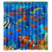 GCKG Underwater World Ocean Animals Fish Coral Bathroom Shower Curtain, Shower Rings Included 100% Polyester Waterproof Shower Curtain 66x72 inches