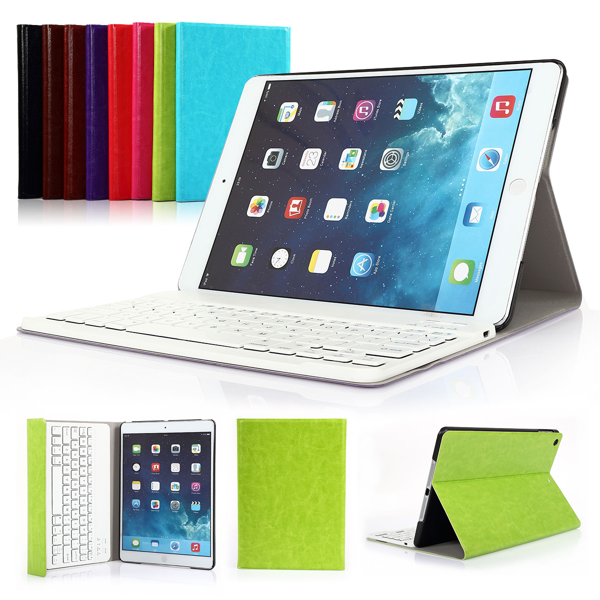 for Apple iPad Air 1/ iPad 2017 NEW 9.7''  Wireless Bluetooth Keyboard Ultra Slim Folding Leather Folio Smart Case Cover With Stand+Removable Keyboard  CoastaCloud