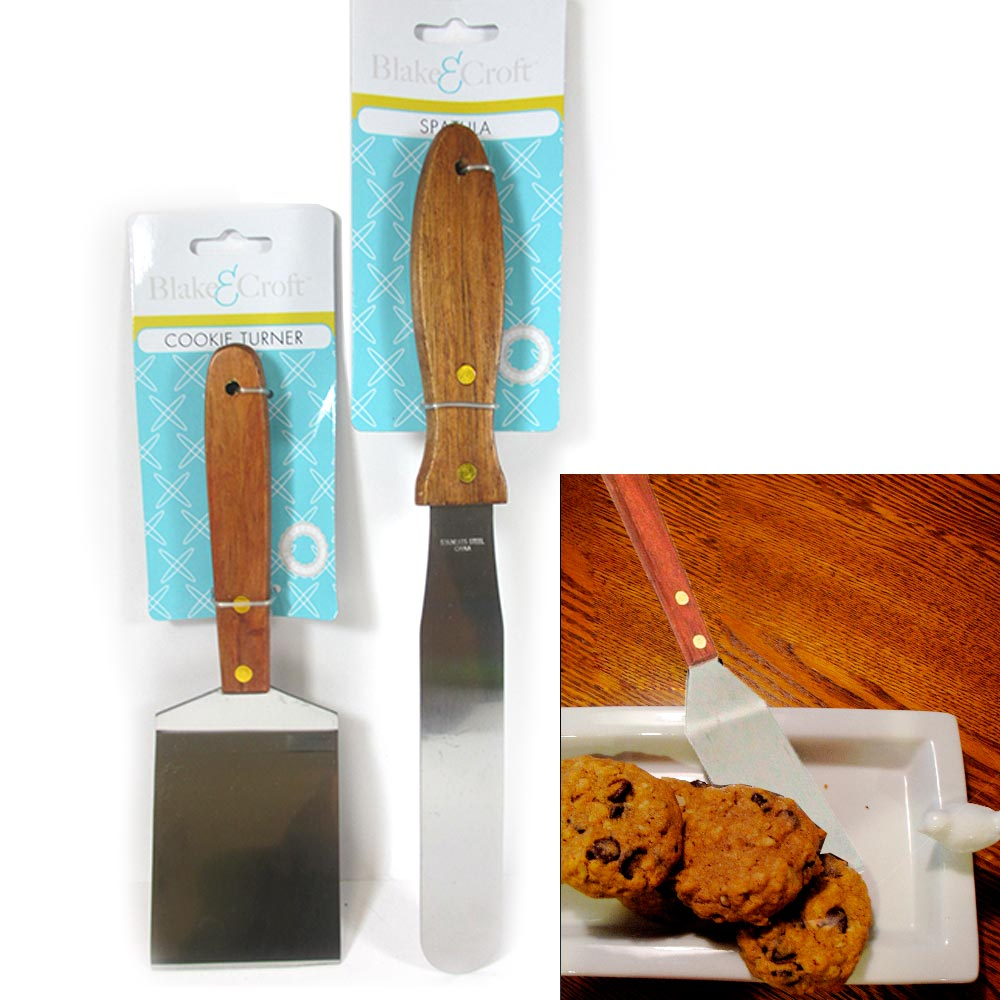 2Pc Spatula Cookie Turner Stainless Steel Kitchen Wood Handle Utensil Bake Cake