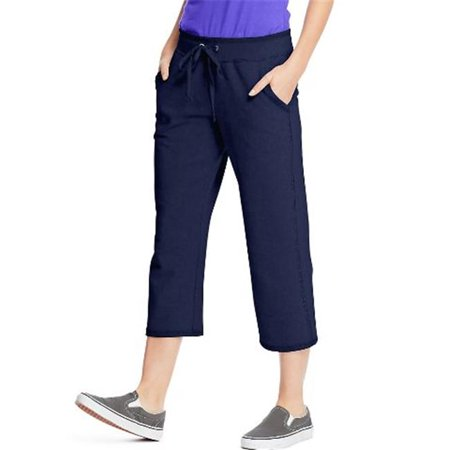 O4679 Womens French Terry Pocket Capri Pant, Navy -
