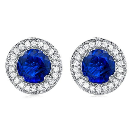 Mariah 18k Gold Plated Round Cut Blue Sapphire CZ Halo Stud Earrings, Sparkling Cluster Stud Earring Set w/ Solitaire Round Cut Sapphire Gemstone, Wedding Anniversary Jewelry MSRP - $150