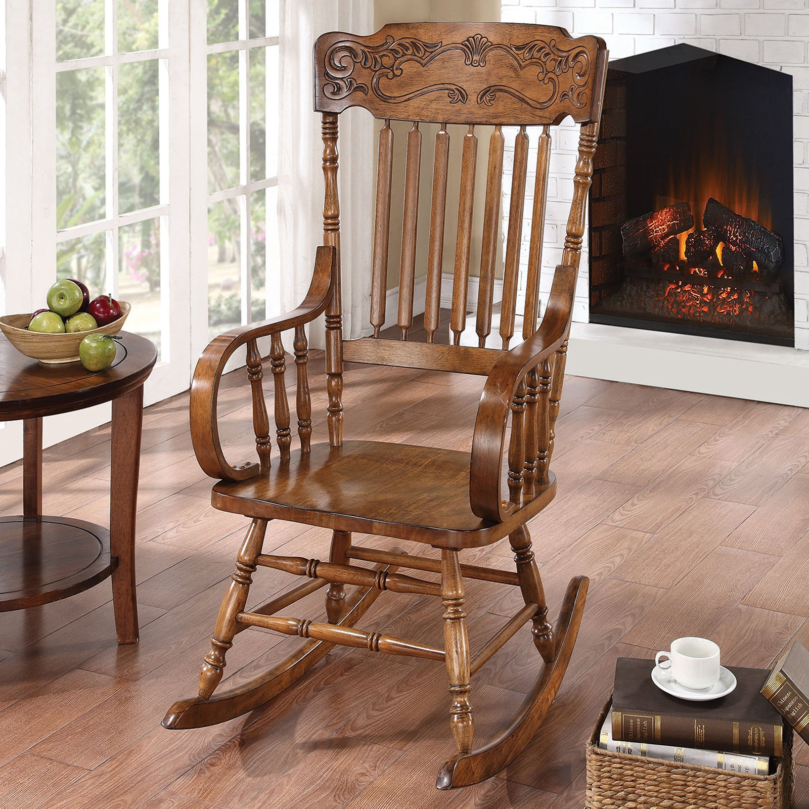Coaster Ornamental Headrest Pattern Rocking Chair in Warm Brown by Coaster Company