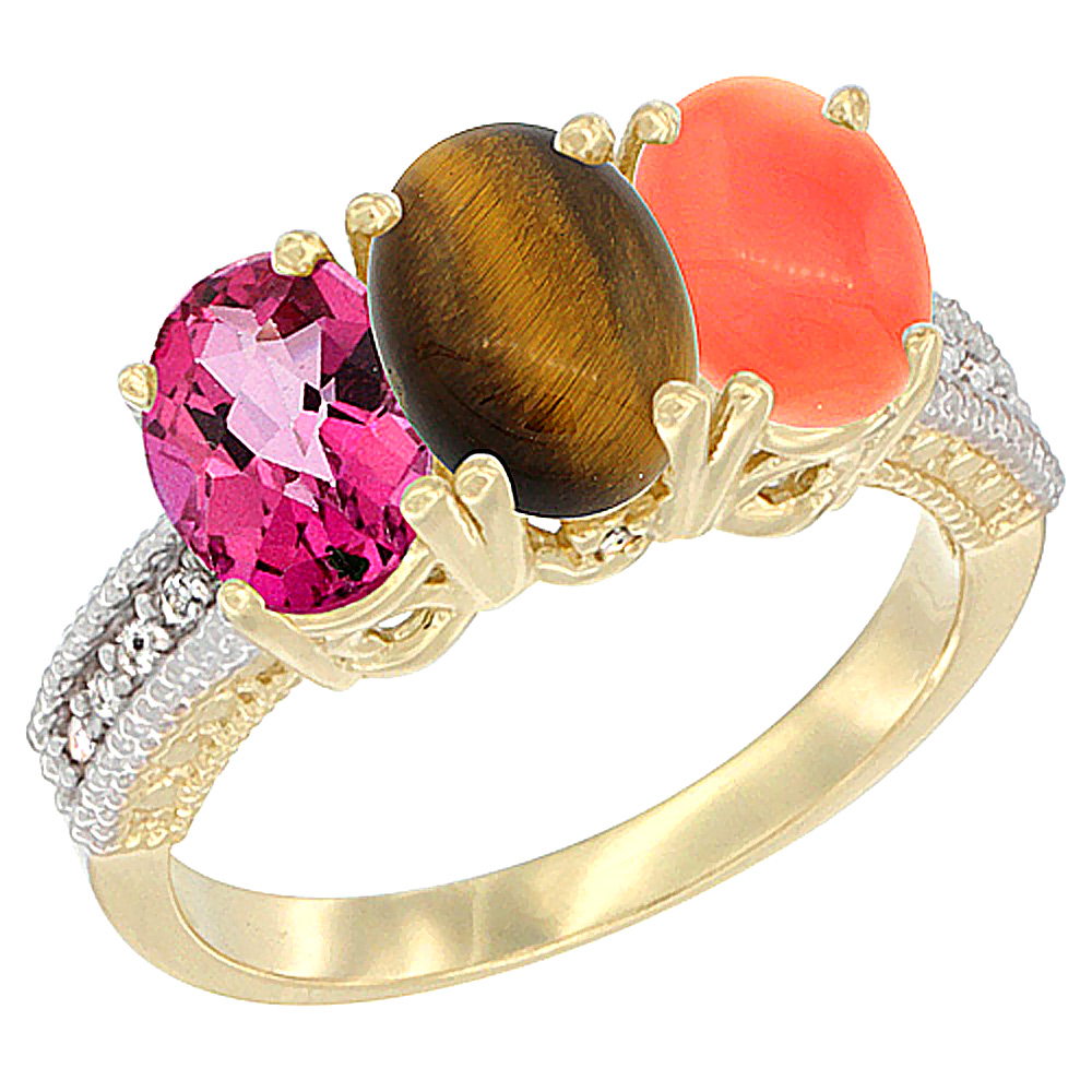 14K Yellow Gold Natural Pink Topaz, Tiger Eye & Coral Ring 3-Stone 7x5 mm Oval Diamond Accent, sizes 5 10 by WorldJewels