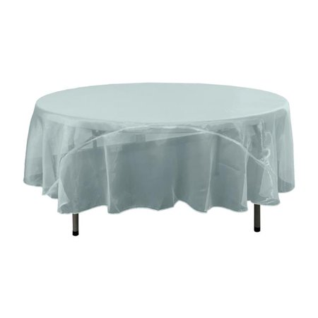 LA Linen TCOrgz72R-BlueBabyO98 Sheer Mirror Organza Round Tablecloth, Baby Blue - 72 in. - image 1 de 1