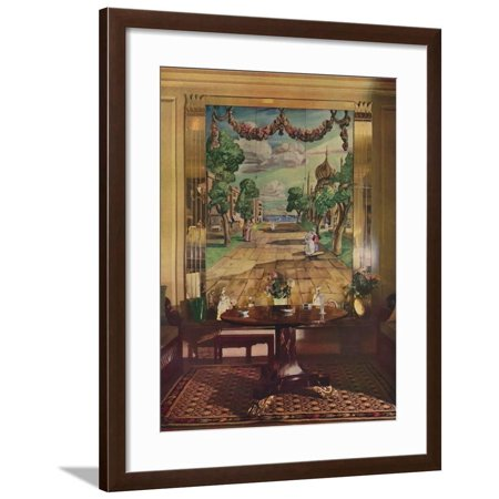 Panel showing Regency Brighton, flanked by mirrored glass pilasters, 1933 Framed Print Wall Art (Paneled Pilaster)