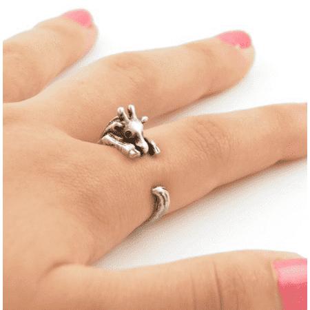 Safari Friends Giraffe Adjustable Animal Wrap Ring Silver - Safari Jewelry