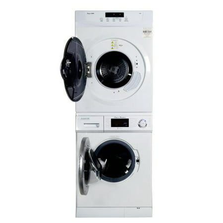 Stackable set of 1.6 cu.ft Compact Super Washer & 3.5 cu.ft Compact Standard Sensor Dryer with Rear Stacking Kit