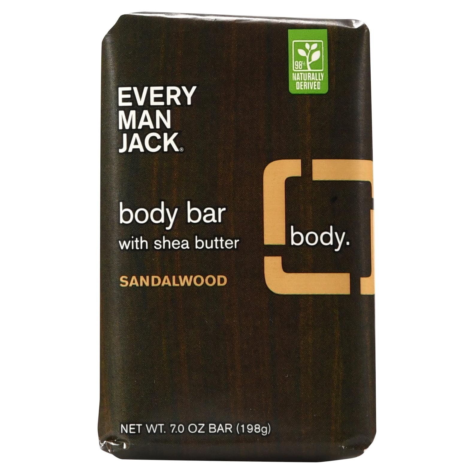 Every Man Jack Sandalwood Body Bar with Shea Butter, 7.0 oz