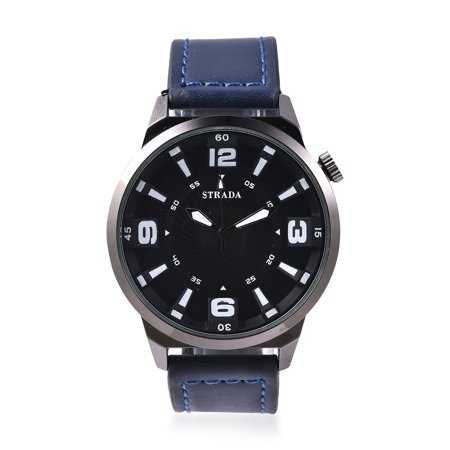 Watch 13 Days Of Halloween Online (Strada Japanese Movement Water Resistant Watch with Blue Faux Leather Straps Stainless Steel Back Fathers Day Gifts for)