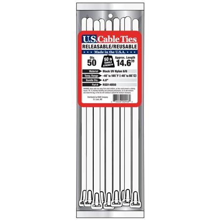 Releasable Bindings - US Cable Ties RSD14B50 14 Inch Releasable Ties, UV Black, 50 Pack