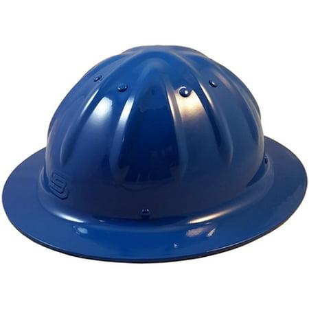Skull Bucket Metal Hard Hats Full Brim with Ratchet Suspensions - Blue