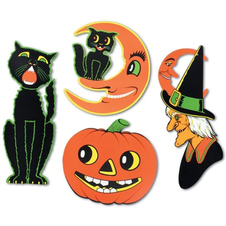 Club Pack of 48 Halloween Black Cat, Witch, Cat & Moon and Pumpkin 2 Sided Design Cutout Decorations (Halloween Papercraft)