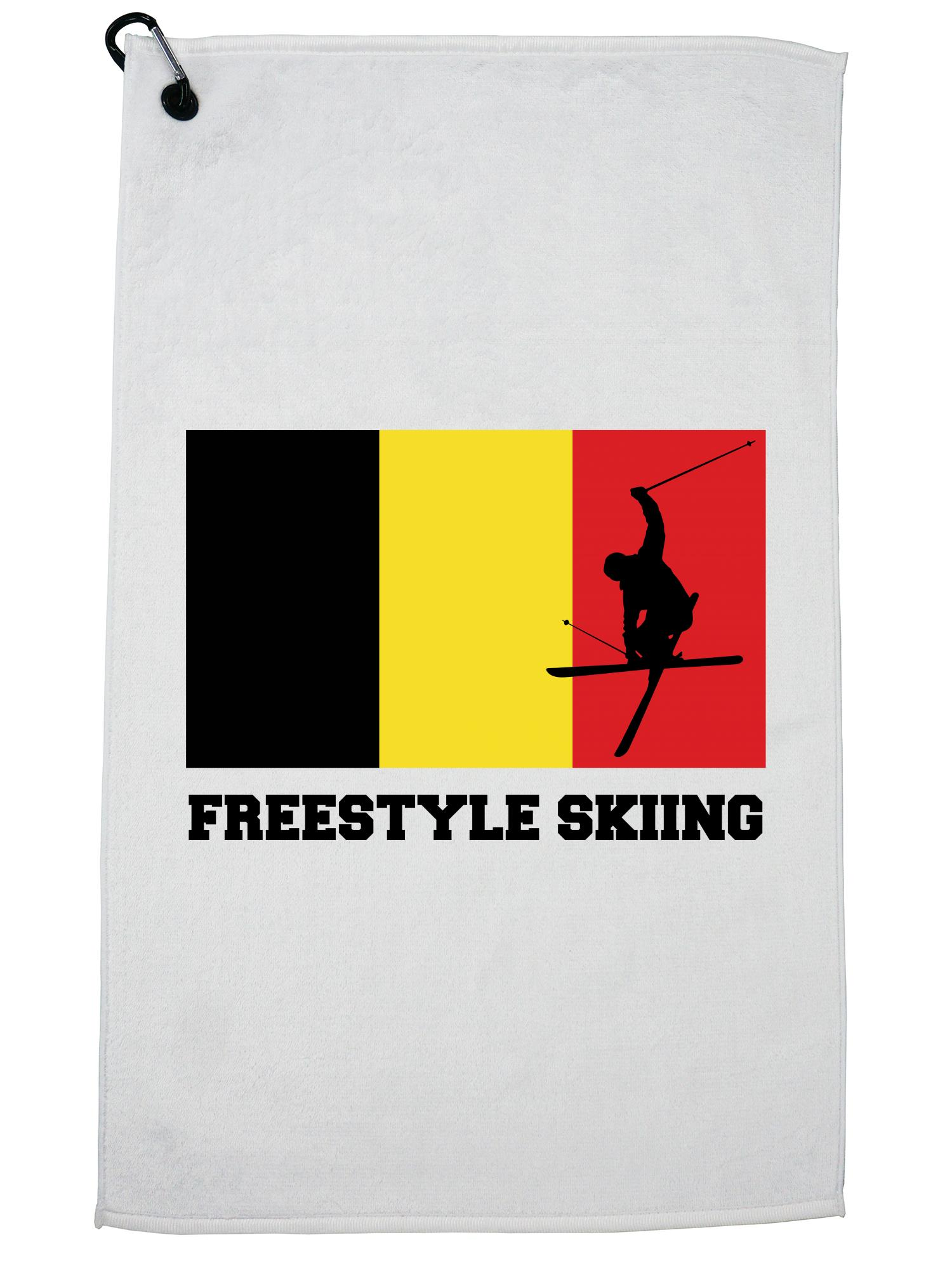 Belgium Olympic Freestyle Skiing Flag Silhouette Golf Towel with Carabiner Clip by Hollywood Thread
