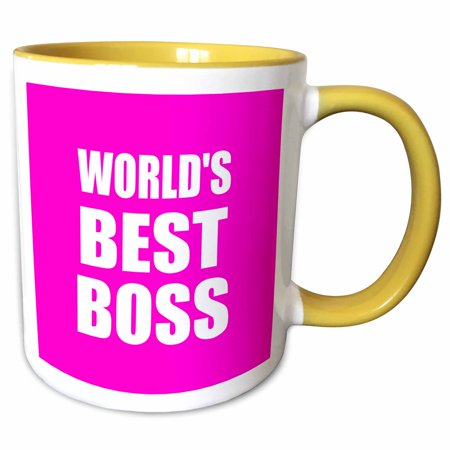 3dRose Worlds Best Boss white text on hot pink Great design for greatest boss - Two Tone Yellow Mug, (Best Made Designs Llc)