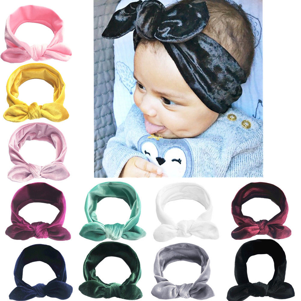 11Colors Cute Baby Infant Girl Toddler Lace Velvet Headband Headwear Hair Band