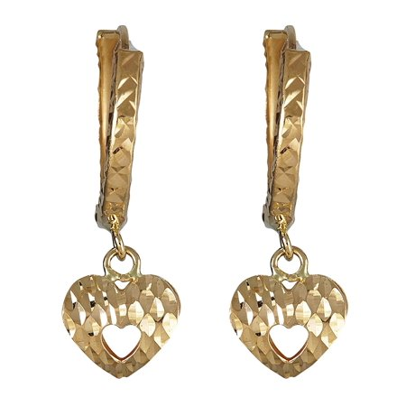 14K Yellow Gold Diamond Cut Open Heart Dangling Huggie Earring Cute Open Heart